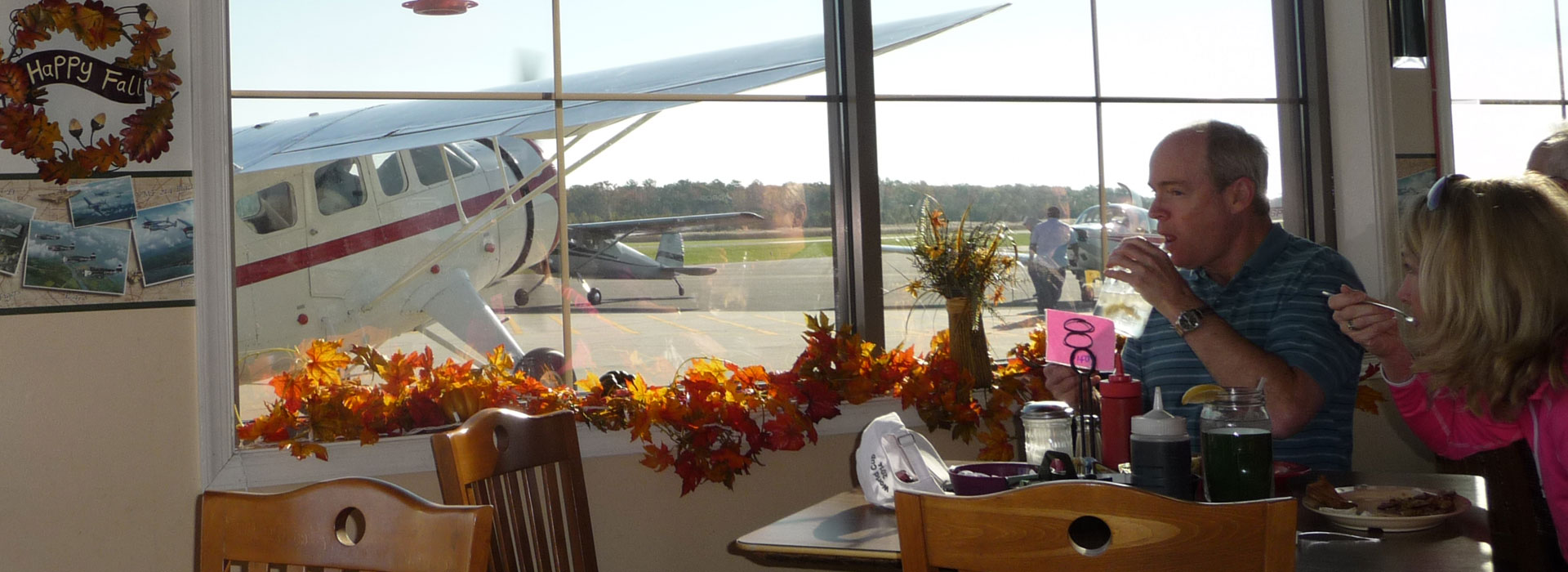 couple enjoying lunch at Kays at The Airport restaurant