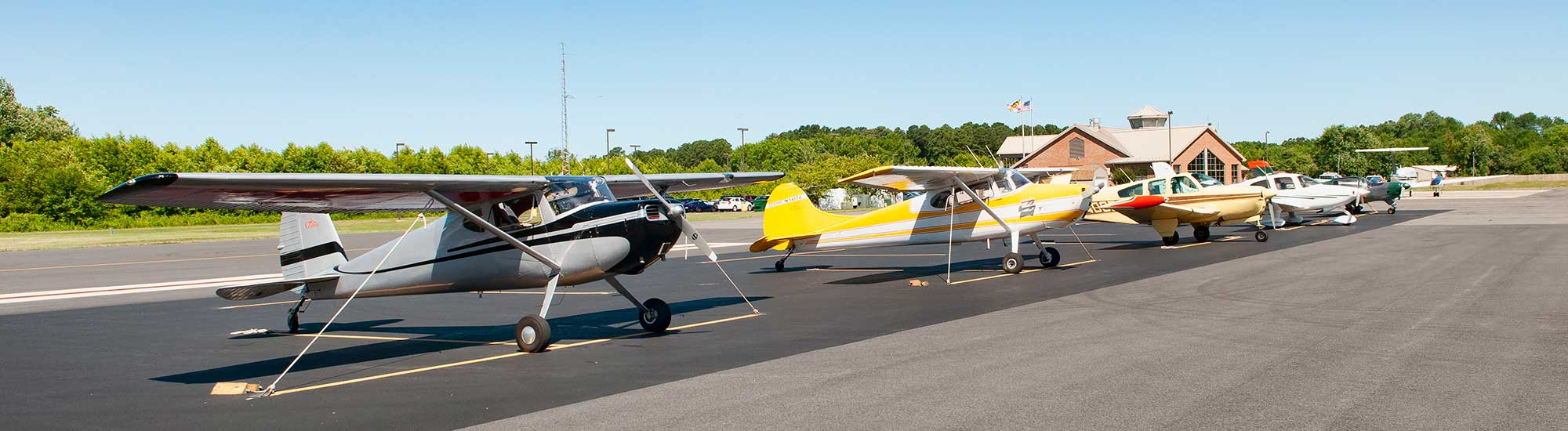 airplanes tied down at Cambridge Airport