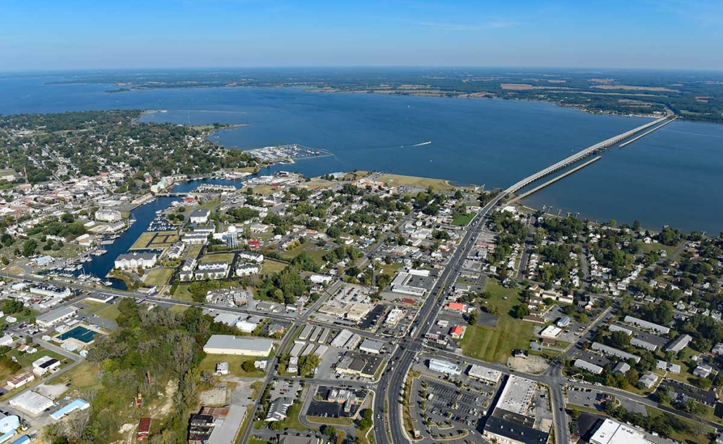 aerial of town of Cambridge MD